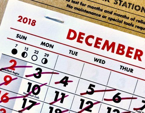 calendrier mois de décembre