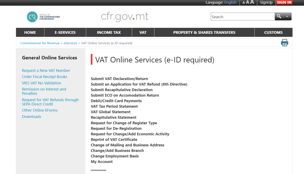 Taxe en ligne Malte