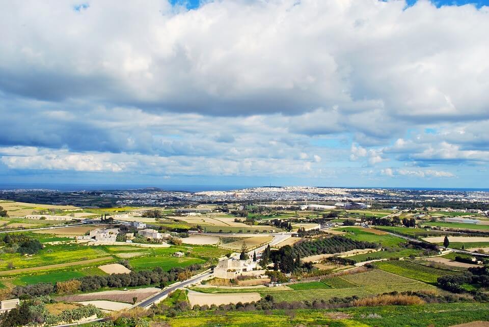 vue de Malte depuis Mdina
