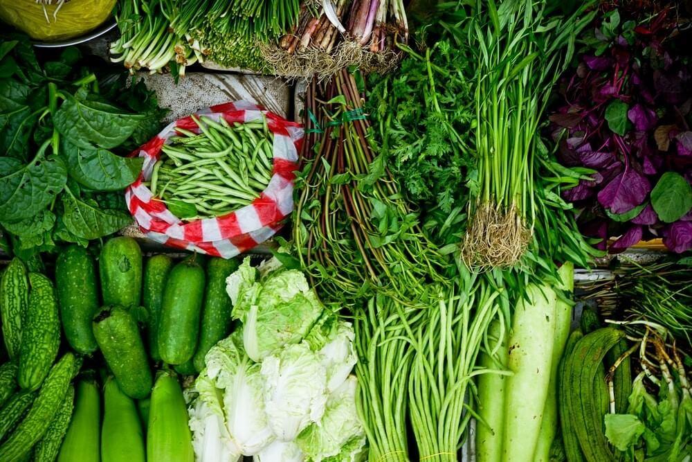 légumes verts mélangés