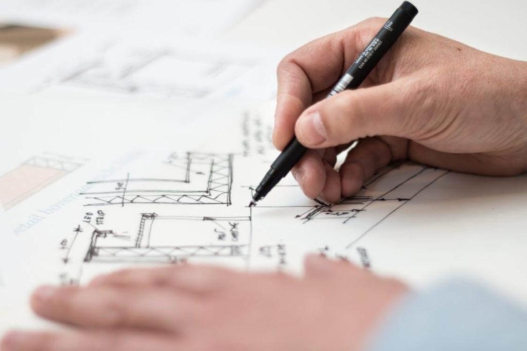 dessin et plan d'un espace de travail