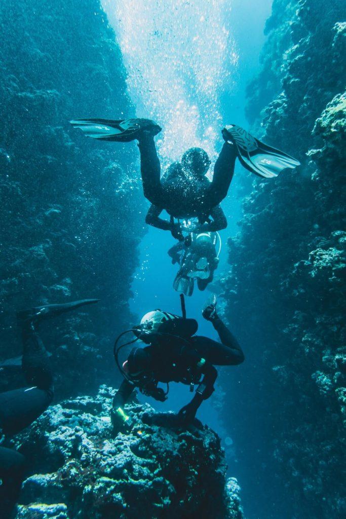deux plongeurs entre des tombants sous-marins